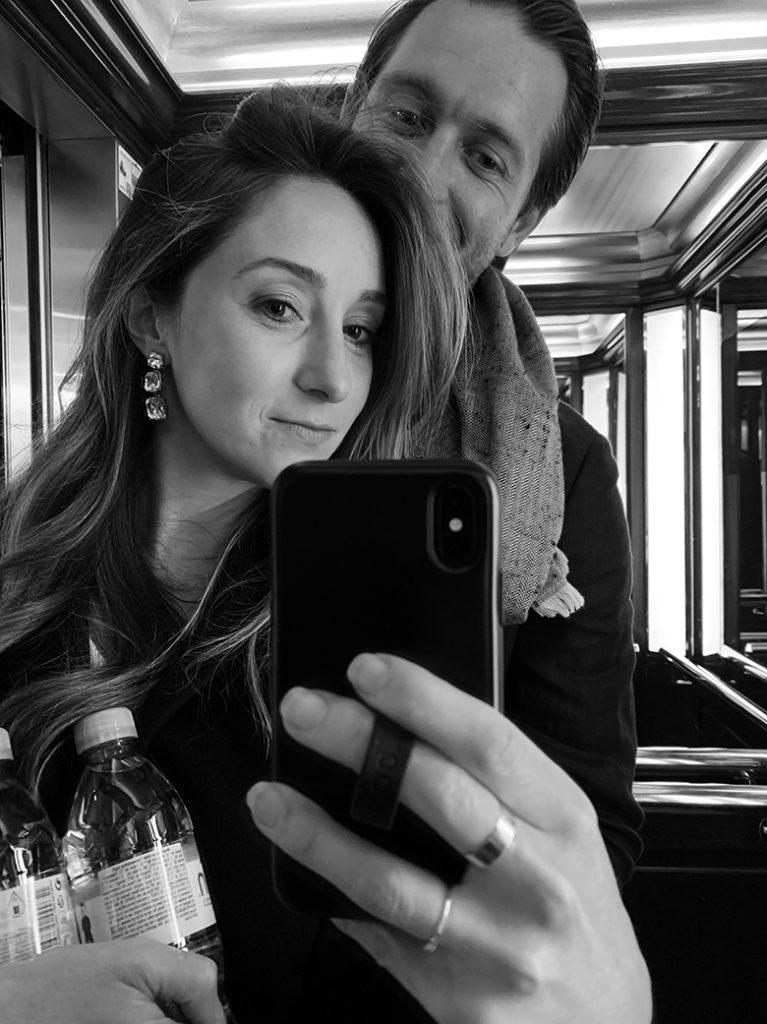 elevator mirror selfie in Paris
