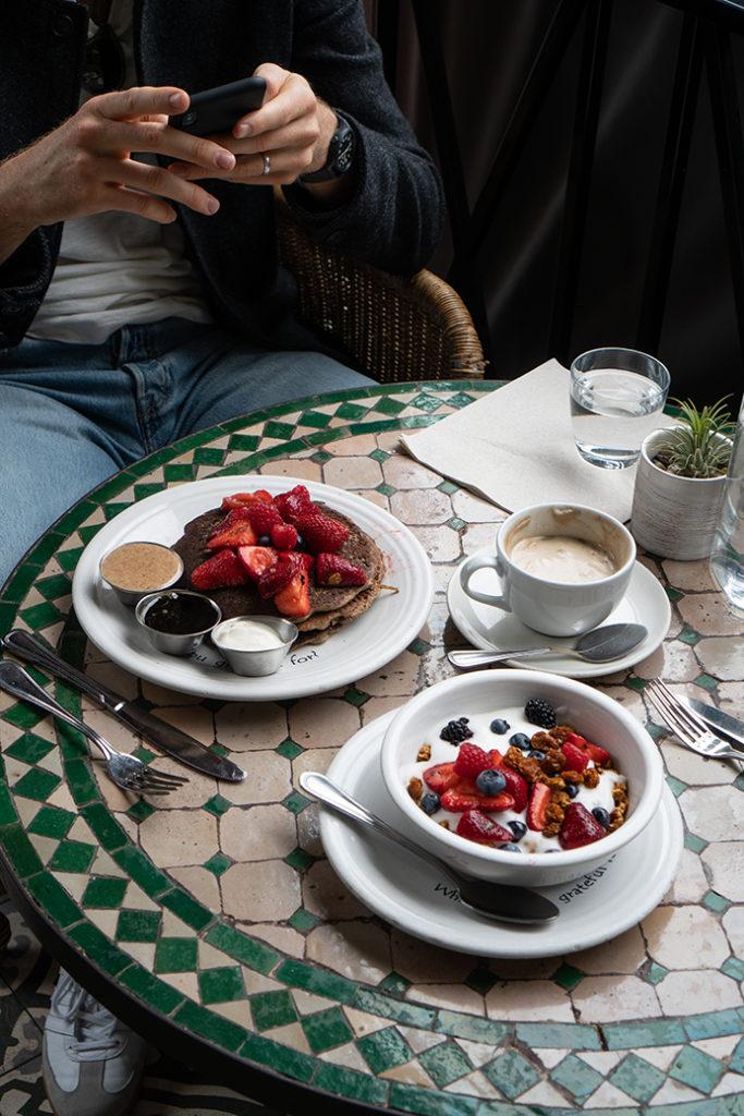 gluten free vegan pancakes at Cafe Gratitude