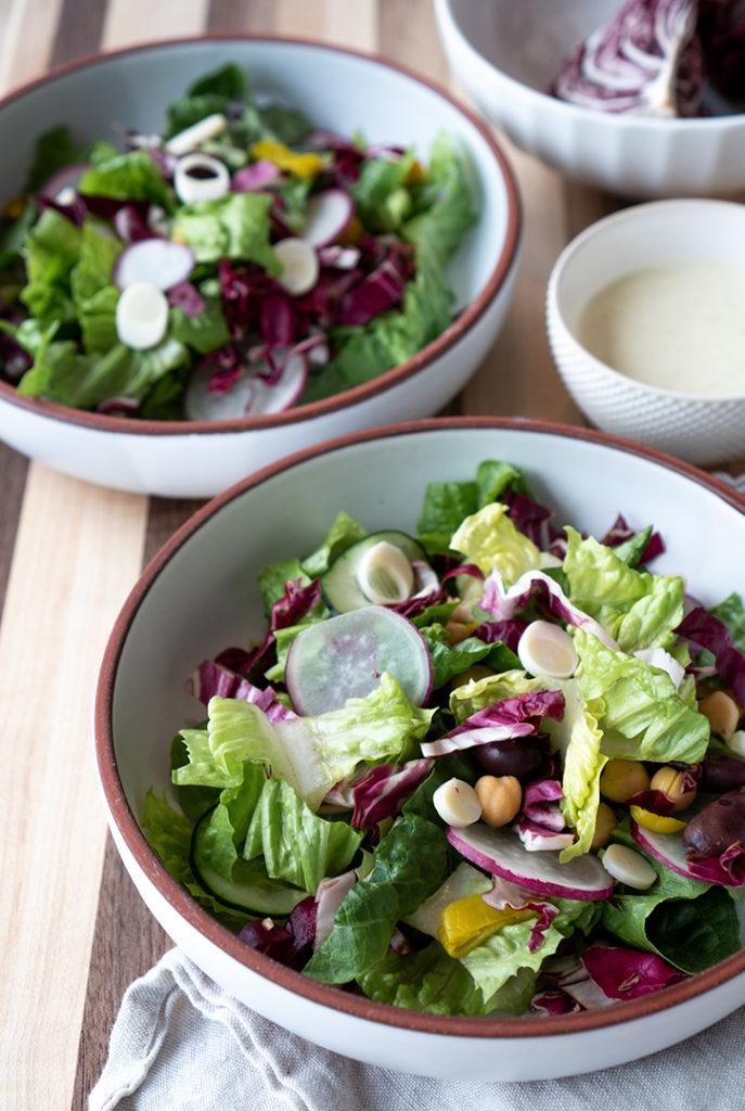 vegan chopped salad recipe with creamy red wine vinegar dressing