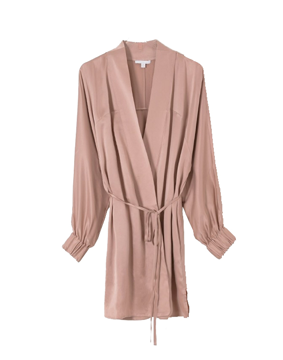 Lunya washable silk robe dusty rose bare
