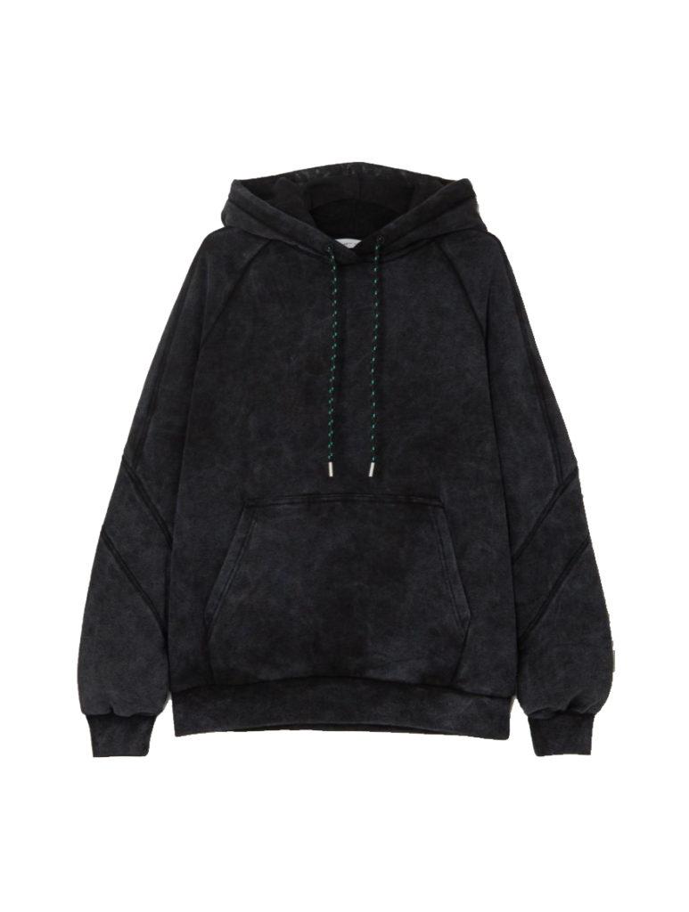 ninety percent sprayed organic Terry black tie dye hoodie