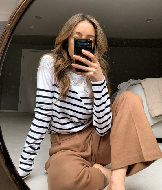 soft tailored pants and stripes minimal work from home outfit